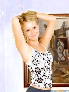 Развратная блондинка в юбке