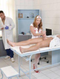 Лицо медсестры в сперме